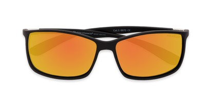 Folded of Aruba #8570 in Black Frame with Yellow Mirrored Lenses