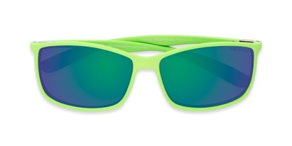 Folded of Aruba #8570 in Neon Green Frame with Green/Purple Mirrored Lenses