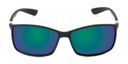 Front of Aruba #8570 in Black Frame with Blue/Green Mirrored Lenses