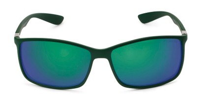Front of Aruba #8570 in Dark Green Frame with Blue Mirrored Lenses