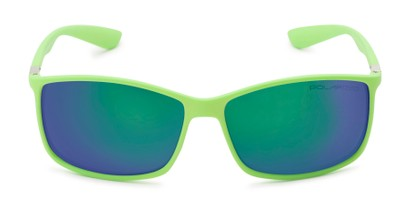 Front of Aruba #8570 in Neon Green Frame with Green/Purple Mirrored Lenses