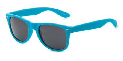 Angle of Atlas #8865 in Blue Frame with Smoke Lenses, Women's and Men's Retro Square Sunglasses