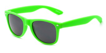 Angle of Atlas #8865 in Green Frame with Smoke Lenses, Women's and Men's Retro Square Sunglasses