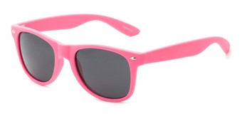 Angle of Atlas #8865 in Pink Frame with Smoke Lenses, Women's and Men's Retro Square Sunglasses