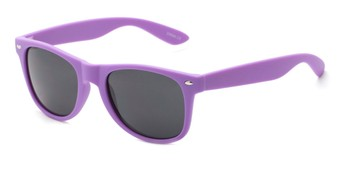 Angle of Atlas #8865 in Purple Frame with Smoke Lenses, Women's and Men's Retro Square Sunglasses