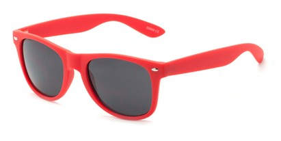 Angle of Atlas #8865 in Red Frame with Smoke Lenses, Women's and Men's Retro Square Sunglasses
