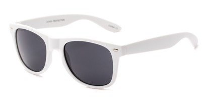 Angle of Atlas #8865 in White Frame with Smoke Lenses, Women's and Men's Retro Square Sunglasses