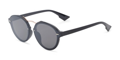 Angle of Augusta #5155 in Black Frame with Grey Lenses, Women's Round Sunglasses
