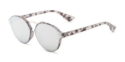 Angle of Augusta #5155 in Grey Tortoise Frame with Silver Mirrored Lenses, Women's Round Sunglasses