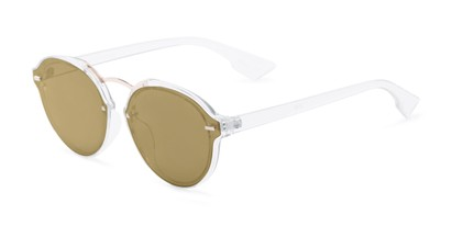 Angle of Augusta #5155 in Clear Frame with Gold Mirrored Lenses, Women's Round Sunglasses