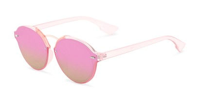 Angle of Augusta #5155 in Pink Frame with Pink/Green Mirrored Lenses, Women's Round Sunglasses