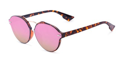 Angle of Augusta #5155 in Tortoise Frame with Pink/Green Mirrored Lenses, Women's Round Sunglasses