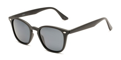 Angle of Backpacker #16391 in Matte Black Frame with Smoke Lenses, Women's and Men's Retro Square Sunglasses