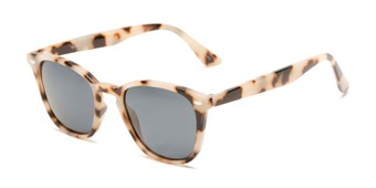 Angle of Backpacker #16391 in Tan Tortoise Frame with Smoke Lenses, Women's and Men's Retro Square Sunglasses