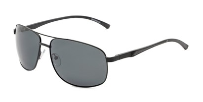 Angle of Baltic #8503 in Black Frame with Grey Lenses, Men's Aviator Sunglasses