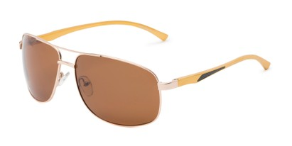 Angle of Baltic #8503 in Gold/Rose Gold Frame with Amber Lenses, Men's Aviator Sunglasses