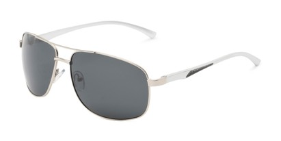 Angle of Baltic #8503 in Silver Frame with Grey Lenses, Men's Aviator Sunglasses