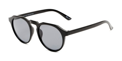 Angle of Banff #5274 in Black Frame with Smoke Lenses, Women's and Men's Round Sunglasses