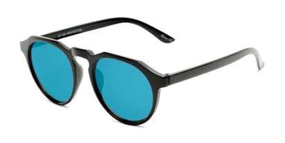 Angle of Banff #5274 in Black Frame with Blue Mirrored Lenses, Women's and Men's Round Sunglasses