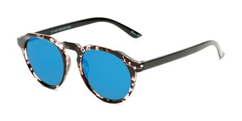 Angle of Banff #5274 in Clear/Brown Tortoise Frame with Blue Mirrored Lenses, Women's and Men's Round Sunglasses