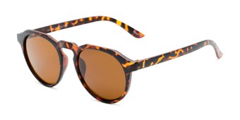 Angle of Banff #5274 in Matte Tortoise Frame with Amber Lenses, Women's and Men's Round Sunglasses