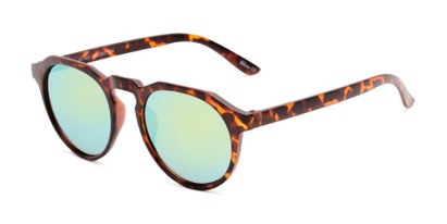Angle of Banff #5274 in Matte Tortoise Frame with Yellow Mirrored Lenses, Women's and Men's Round Sunglasses
