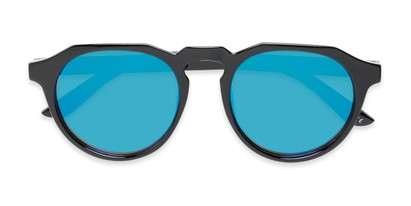 Folded of Banff #5274 in Black Frame with Blue Mirrored Lenses