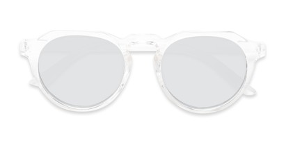Folded of Banff #5274 in Clear Frame with Silver Mirrored Lenses