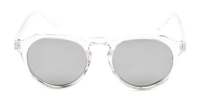 Front of Banff #5274 in Clear Frame with Silver Mirrored Lenses