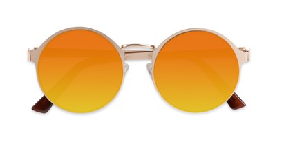 Folded of Banks #9157 in Gold Frame with Orange Mirrored Lenses
