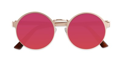 Folded of Banks #9157 in Gold Frame with Dark Pink Mirrored Lenses