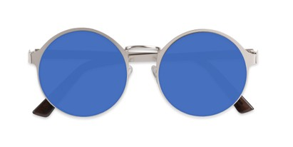 Folded of Banks #9157 in Silver Frame with Blue Mirrored Lenses