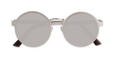 flat front mirrored round metal shades