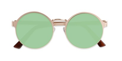 Folded of Banks #9157 in Gold Frame with Yellow/Green Mirrored Lenses