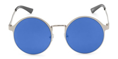 Front of Banks #9157 in Silver Frame with Blue Mirrored Lenses