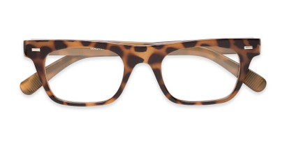 Folded of Baritone #3489 in Tan Tortoise Frame with Clear Lenses