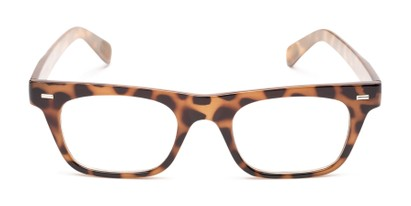 Front of Baritone #3489 in Tan Tortoise Frame with Clear Lenses