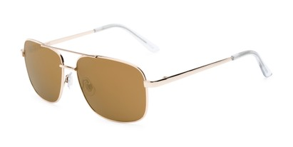 Angle of Barnes #8301 in Gold Frame with Gold Mirrored Lenses, Women's and Men's Aviator Sunglasses
