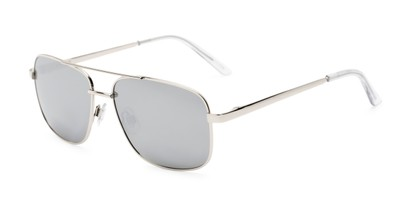 Angle of Barnes #8301 in Silver Frame with Silver Mirrored Lenses, Women's and Men's Aviator Sunglasses