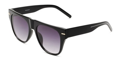 Angle of Bayswater #9097 in Black Frame with Smoke Lenses, Women's Aviator Sunglasses