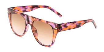 Angle of Bayswater #9097 in Pink/Orange Frame with Amber Gradient Lenses, Women's Aviator Sunglasses