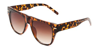 Angle of Bayswater #9097 in Tortoise Frame with Amber Gradient Lenses, Women's Aviator Sunglasses