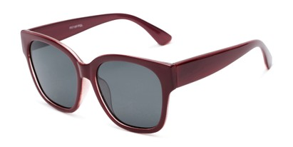 Angle of Beatrice in Red Frame with Smoke Lenses, Women's Square Sunglasses