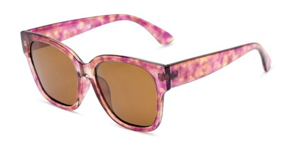 Angle of Beatrice in Pink Tortoise Frame with Amber Lenses, Women's Square Sunglasses