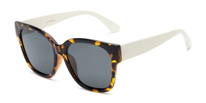 Angle of Beatrice in Tortoise Frame with Smoke Lenses, Women's Square Sunglasses