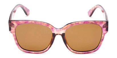Front of Beatrice in Pink Tortoise Frame with Amber Lenses