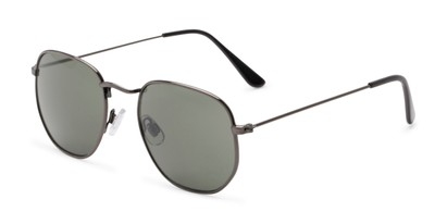 Angle of Beau #27140 in Grey Frame with Green Lenses, Women's and Men's Round Sunglasses