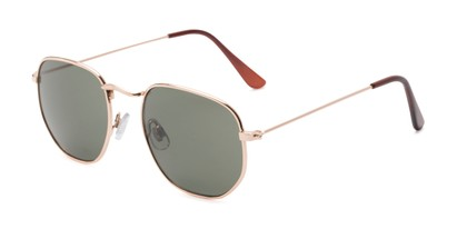Angle of Beau #27140 in Gold Frame with Green Lenses, Women's and Men's Round Sunglasses