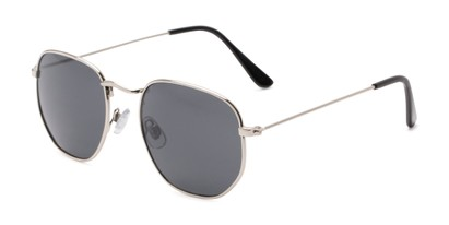 Angle of Beau #27140 in Silver Frame with Grey Lenses, Women's and Men's Round Sunglasses
