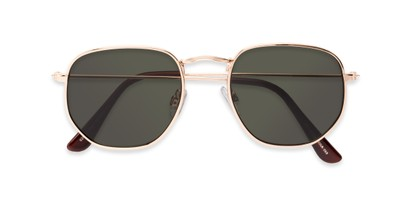 Folded of Beau #27140 in Gold Frame with Green Lenses